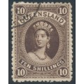AUSTRALIA / QLD - 1886 10/- brown Large Chalon, thick paper, CTO – SG # 160