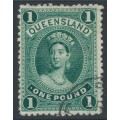AUSTRALIA / QLD - 1886 £1 deep green Large Chalon, thick paper, CTO – SG # 161
