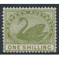 AUSTRALIA / WA - 1890 1/- olive-green Swan with crown CA watermark, MH – SG # 102