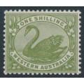 AUSTRALIA / WA - 1907 1/- olive-green Swan, W crown A watermark, MH – SG # 116