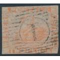 AUSTRALIA / WA - 1860 2d pale orange Swan, imperforate with swan watermark, used – SG # 24