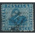 AUSTRALIA / WA - 1861 2d blue Swan, perf. 15:15, swan watermark, used – SG # 41