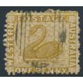 AUSTRALIA / WA - 1864 1d bistre Swan, perf. 12½, sideways crown CC watermark, used – SG # 52