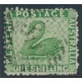 AUSTRALIA / WA - 1865 1/- bright green Swan, perf. 12½, crown CC watermark, used – SG # 61