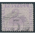 AUSTRALIA / WA - 1879 6d lilac Swan, perf. 14:14, upright crown CC watermark, used – SG # 75a