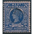 AUSTRALIA / WA - 1902 2/6 deep blue/rose QV, perf. 12½, V crown watermark, used – SG # 125