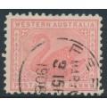 AUSTRALIA / WA - 1908 1d rose-pink Swan, perf. 11, upright crown A watermark, used – SG # 151b