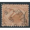 AUSTRALIA / WA - 1905 3d brown Swan, perf. 11, sideways crown A watermark, used – SG # 153