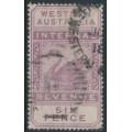 AUSTRALIA / WA - 1893 6d purple Internal Revenue, crown CA watermark, used – SG # F14