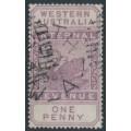 AUSTRALIA / WA - 1897 1d purple Internal Revenue, W crown A watermark, used – SG # F19