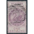 AUSTRALIA / WA - 1897 1/- purple Internal Revenue, W crown A watermark, used – SG # F22