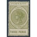 AUSTRALIA / SA - 1902 3d olive-green Long Tom, thin POSTAGE, MNH – SG # 268