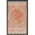 AUSTRALIA / SA - 1903 4d orange-red Long Tom, thin POSTAGE, MNH – SG # 281