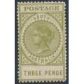 AUSTRALIA / SA - 1906 3d olive-green Long Tom, thick POSTAGE, MNH – SG # 298
