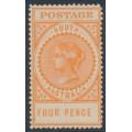 AUSTRALIA / SA - 1909 4d orange Long Tom, thick POSTAGE, MH – SG # 299b