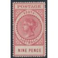 AUSTRALIA / SA - 1909 9d lake-rose Long Tom, thick POSTAGE, MH – SG # 302c