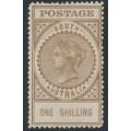 AUSTRALIA / SA - 1912 1/- brown Long Tom, thick POSTAGE, MH – SG # 303c