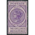 AUSTRALIA / SA - 1909 2/6 bright violet Long Tom, thick POSTAGE, MH – SG # 304