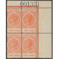 AUSTRALIA / SA - 1906 4d red-orange Long Tom, thick POSTAGE, block of 4, MNH – SG # 299