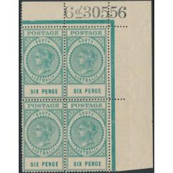 AUSTRALIA / SA - 1910 6d blue-green Long Tom, thick POSTAGE, block of 4, MNH – SG # 300a