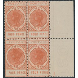AUSTRALIA / SA - 1903 4d orange-red Long Tom, thin POSTAGE, block of 4, MNH – SG # 281