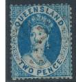 AUSTRALIA / QLD - 1860 2d blue QV Chalon, perf. 15:15, large star watermark, used – SG # 5