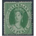 AUSTRALIA / QLD - 1860 6d green QV Chalon, perf. 15:15, large star watermark, used – SG # 6