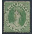 AUSTRALIA / QLD - 1861 6d yellow-green QV Chalon, perf. 14 (rough), small star watermark, used – SG # 18
