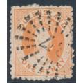 AUSTRALIA / QLD - 1863 1d orange-vermilion QV Chalon, perf. 13 (rough), no watermark, used – SG # 22