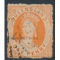 AUSTRALIA / QLD - 1863 1d orange-vermilion QV Chalon, perf. 12½:13, no watermark, used – SG # 30