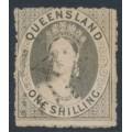 AUSTRALIA / QLD - 1863 1/- grey QV Chalon, perf. 12½:13, no watermark, used – SG # 36