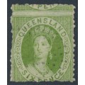 AUSTRALIA / QLD - 1865 6d yellow-green QV Chalon, perf. 13, small star watermark, used – SG # 47