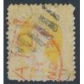 AUSTRALIA / QLD - 1875 4d yellow QV Chalon, perf. 13, Q crown watermark, used – SG # 89