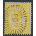 AUSTRALIA / QLD - 1898 4d yellow QV Chalon, Q crown watermark, used – SG # 244