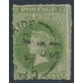 AUSTRALIA / SA - 1863 1d sage-green QV Diadem, large star watermark, rouletted, used – SG # 21