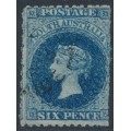AUSTRALIA / SA - 1867 6d Prussian blue QV Diadem, perf. 11½:rouletted, used – SG # 57