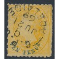 AUSTRALIA / SA - 1869 10d on 9d yellow QV Diadem, perf. 11½:rouletted, used – SG # 59