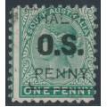 AUSTRALIA / SA - 1882 ½d on 1d green QV, perf. 10:10, o/p OS, used – SG # O48