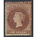 AUSTRALIA / SA - 1868 1/- chestnut QV Diadem, perf. 11½:rouletted, MH – SG # 60