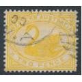 AUSTRALIA / WA - 1899 2d yellow Swan, inverted W crown A watermark, used – SG # 113w
