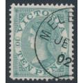 AUSTRALIA / VIC - 1865 10d grey QV Laureates, V crown watermark reprint, CTO