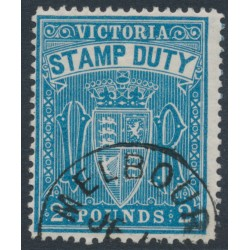 AUSTRALIA / VIC - 1888 £2 blue STAMP DUTY, perf. 12½, CTO – SG # 276a