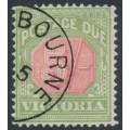 AUSTRALIA / VIC - 1895 5/- red/green Postage Due, upright watermark, CTO – SG # D20