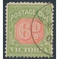 AUSTRALIA / VIC - 1897 6d pale scarlet/yellow-green Postage Due, CTO – SG # D25