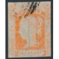 AUSTRALIA / NSW - 1854 1d orange-vermilion Laureates, imperf., '1' watermark, used – SG # 83