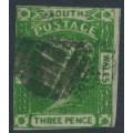 AUSTRALIA / NSW - 1854 3d yellow-green Laureates, imperf., '3' watermark, used – SG # 87