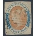 AUSTRALIA / NSW - 1856 6d orange/indigo REGISTERED, imperf., no watermark, used – SG # 105