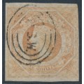 AUSTRALIA / NSW - 1854 1/- brownish red Diadem, imperforate with '12' watermark, used – SG # 101