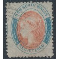 AUSTRALIA / NSW - 1862 6d rose-red/blue REGISTERED, perf. 13, no watermark, used – SG # 124