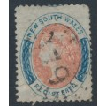 AUSTRALIA / NSW - 1862 6d rose-red/indigo REGISTERED, perf. 13, '6' watermark, used – SG # 126